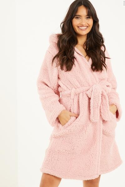 Pink Hooded Teddy Robe